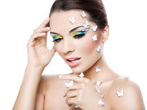 Beautiful woman with a fantastic makeup Royalty Free Stock Photo