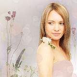 Beautiful woman, fantasy background Royalty Free Stock Photos