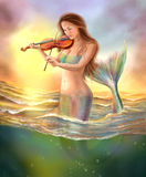 Beautiful woman fantasy mermaid plays on violin on sunset. Illustration Beautiful Fantasy mermaids in water. digital painting Stock Photos