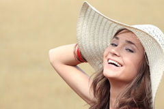 Beautiful woman on farmland Royalty Free Stock Photo