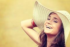 Beautiful woman on farmland royalty free stock photo