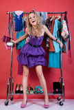 Beautiful woman in fashio clothes in the dressing Stock Image