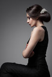 Beautiful Woman. Fashion Festive Coiffure with Pearls. Upsweep. Royalty Free Stock Photography