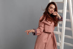 Beautiful Woman, Fashion Girl In Fashionable Clothes In Studio Royalty Free Stock Images
