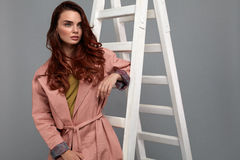 Beautiful Woman, Fashion Girl In Fashionable Clothes In Studio Royalty Free Stock Photography
