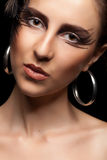 Beautiful woman with fashion goth make up Royalty Free Stock Images