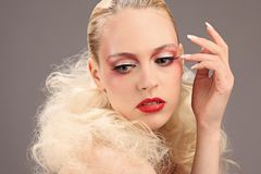 Beautiful woman with fashion hairstyle and glamour makeup Stock Photos