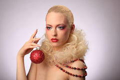 Beautiful woman with fashion hairstyle and glamour. Makeup, studio Stock Photography