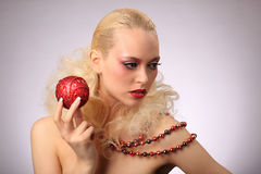 Beautiful woman with fashion hairstyle and glamour. Makeup, studio Stock Photo