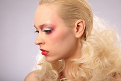 Beautiful woman with fashion hairstyle and glamour. Makeup, studio Royalty Free Stock Images