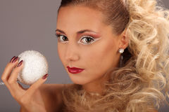 Beautiful woman with fashion hairstyle and glamour. Makeup, studio Royalty Free Stock Image