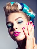Beautiful woman with pink nails. Fashion model royalty free stock images