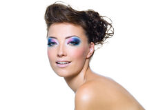 Beautiful  woman with fashion makeup Royalty Free Stock Photos