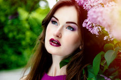 Beautiful woman with fashion makeup stock image