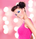 Beautiful woman with fashion makeup Royalty Free Stock Image