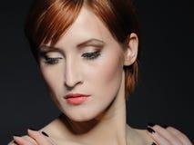 Beautiful woman with fashion makeup trend Stock Photos
