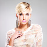 Beautiful woman with fashion makeup and white hairs Stock Photos