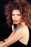 Beautiful Woman Fashion Model with Curly Hair, Makeup Stock Photo