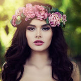 Beautiful Woman Fashion Model in Flowers Wreath Ou Stock Image