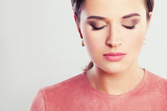 Beautiful Woman Fashion Model with Makeup. Closed Eyes Stock Photo