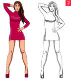 Beautiful woman fashion model in red dress. Illustration, outline silouhette Stock Photography