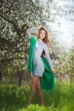 Beautiful Woman Fashion Model with Apple Tree Flowers stock images