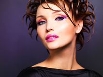 Beautiful woman with fashion pink makeup Royalty Free Stock Images