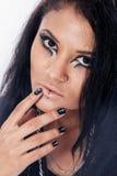 Beautiful woman. Fashion portrait. Close-up face makeup Stock Images