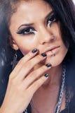 Beautiful woman. Fashion portrait. Close-up face makeup Royalty Free Stock Photography