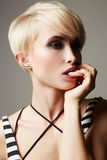 Beautiful woman with fashion short haircut Royalty Free Stock Photography