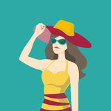 Beautiful woman fashion in summer. Vector illustration Stock Photography