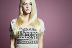 Beautiful Woman.Fashionable Beauty Blond Girl in dress Royalty Free Stock Photos