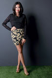 Beautiful woman in fashionable clothes Stock Photography