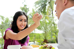 Beautiful woman feeding food to her boyfriend Stock Images