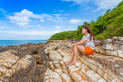 Beautiful woman feel lonely Stock Image