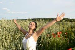 Beautiful woman feeling free stock photography