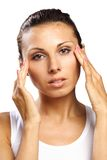 Beautiful woman feeling pain headache isolated Stock Photo