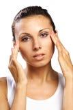 Beautiful woman feeling pain headache isolated stock photo
