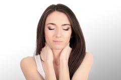 Beautiful Woman Feeling Sick, Having Headache, Painful Body Pain.  Royalty Free Stock Photo