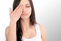 Beautiful Woman Feeling Sick, Having Headache, Painful Body Pain Royalty Free Stock Image