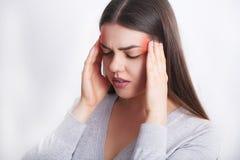 Beautiful Woman Feeling Sick, Having Headache, Painful Body Pain.  Stock Images
