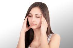 Beautiful Woman Feeling Sick, Having Headache, Painful Body Pain.  Royalty Free Stock Photos