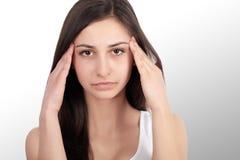 Beautiful Woman Feeling Sick, Having Headache, Painful Body Pain.  Royalty Free Stock Image
