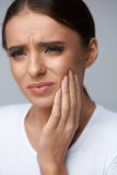 Beautiful Woman Feeling Tooth Pain, Painful Toothache. Health Stock Photos