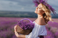 Beautiful woman in a field of blossoming lavender Stock Photography