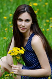 Beautiful woman in the field with dandelions Royalty Free Stock Images