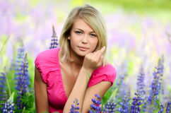 Beautiful woman in the field with lupin Stock Photography