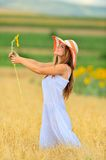 Beautiful woman on field in summer Royalty Free Stock Photos