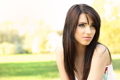 Beautiful woman on field in summer Royalty Free Stock Photography