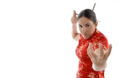 Beautiful woman in fighting pose Royalty Free Stock Images